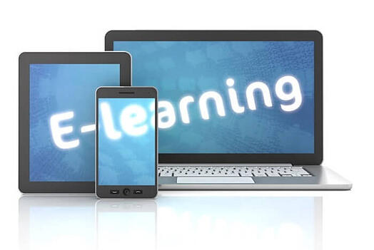 E-learning written on tablet, laptop, and mobile phone with a learning management system | Varay, El Paso
