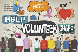 People pondering volunteering and giving   charitable giving