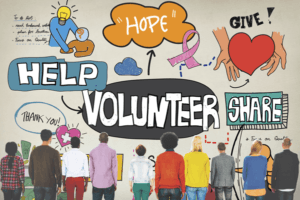 People pondering volunteering and giving | charitable giving
