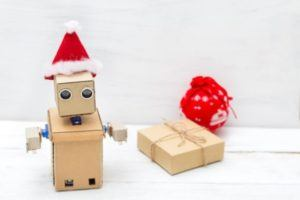 Robot with a santa hat | Tech gadget gifts