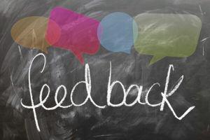 feedback writing on a chalkboard