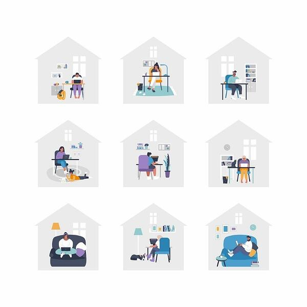 An animated grid of nine diverse individuals working remotely in their homes. | Varay Managed IT, El Paso & San Antonio