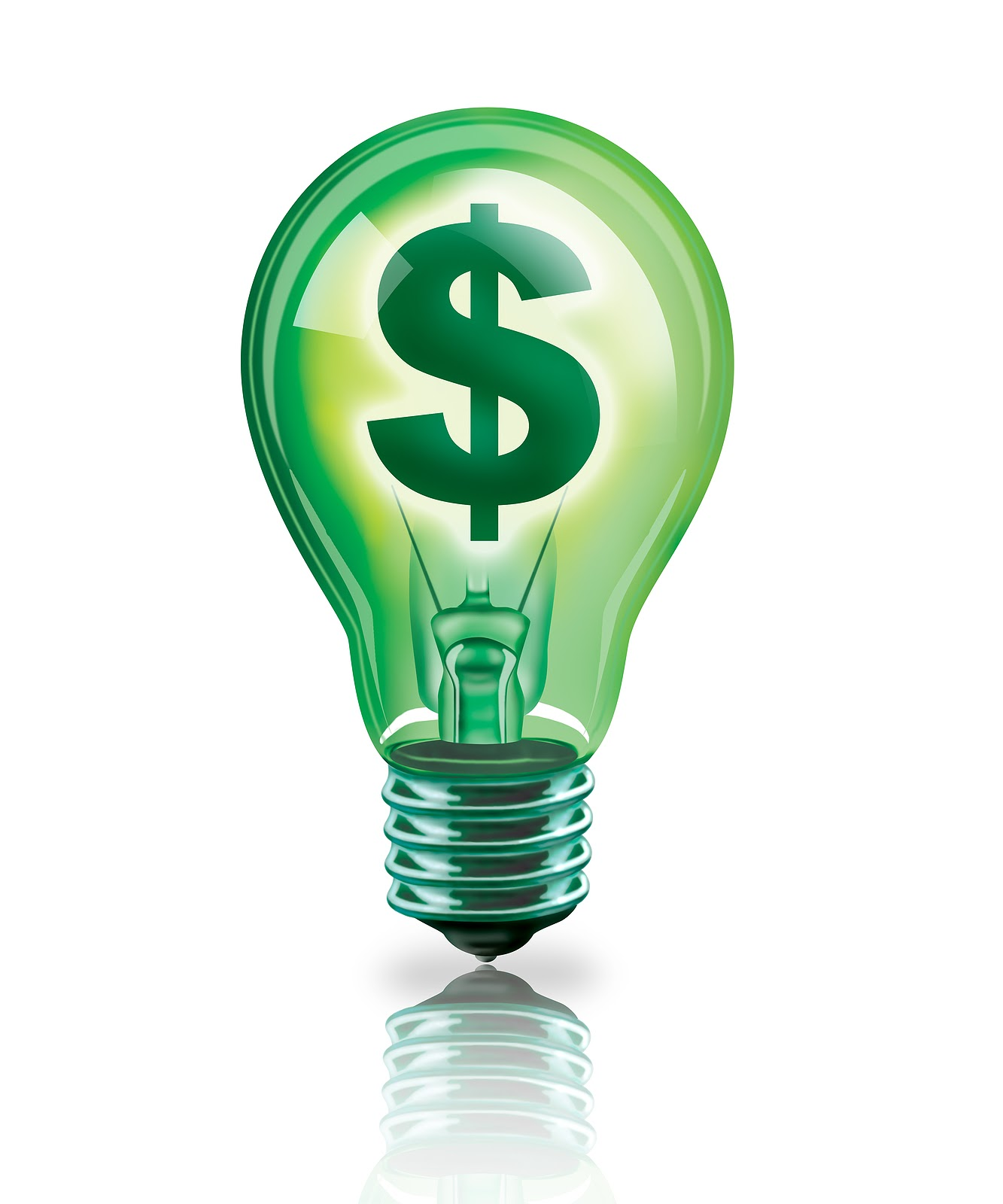 Green light bulb with a dollar sign inside of it.