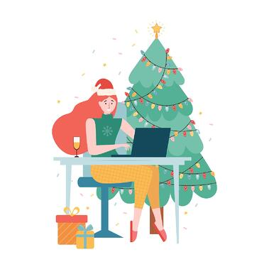 Icon of a red-haired woman on a video conference call with Christmas gifts in the background.