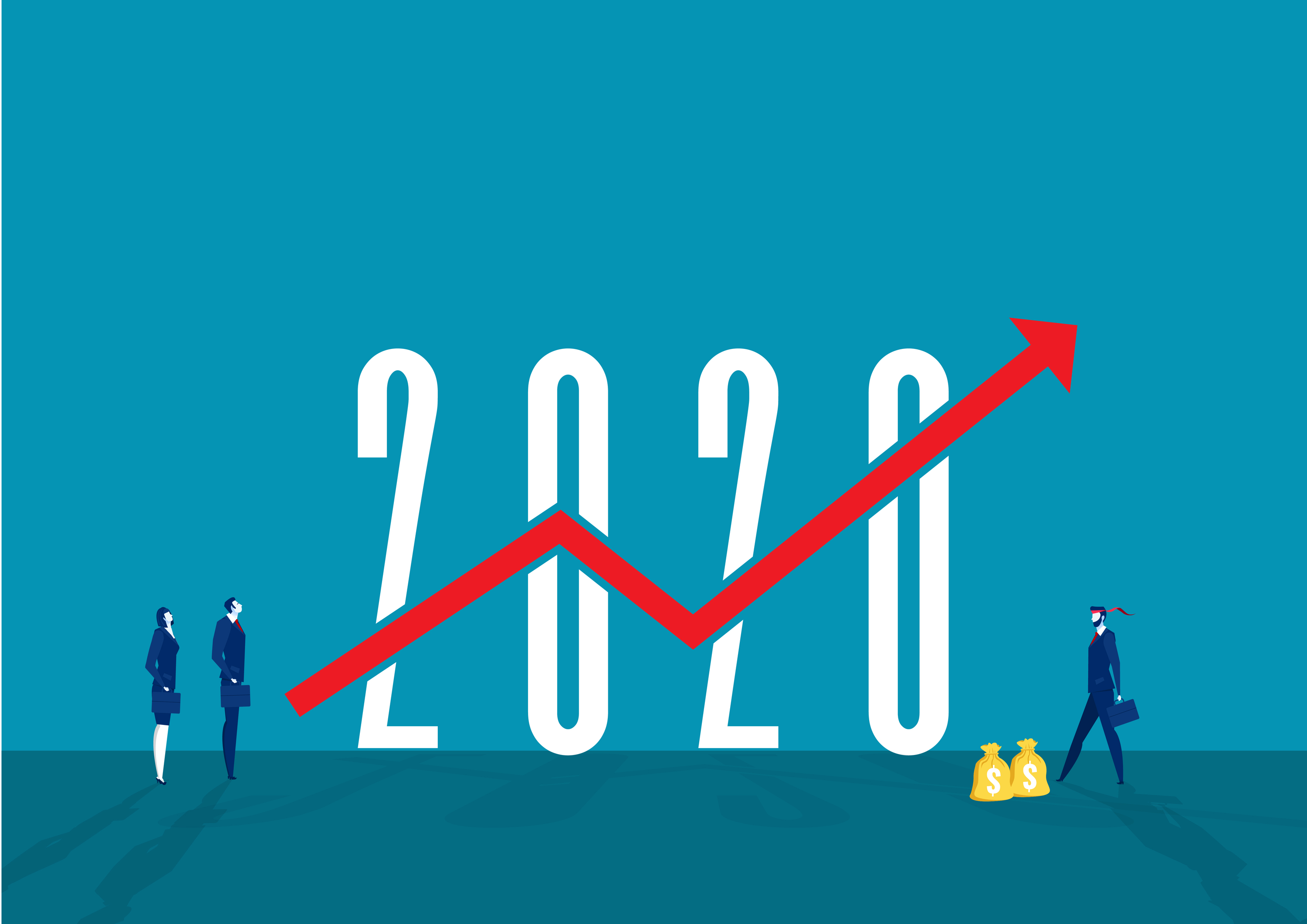 "Drawing of an arrow of success/growth going up through a large ""2020"" sign."
