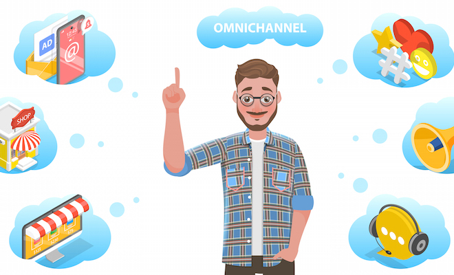 "Drawing of a young man with six different thought bubbles with varying communication avenues for connecting with customers with the word ""Omnichannel"" above."